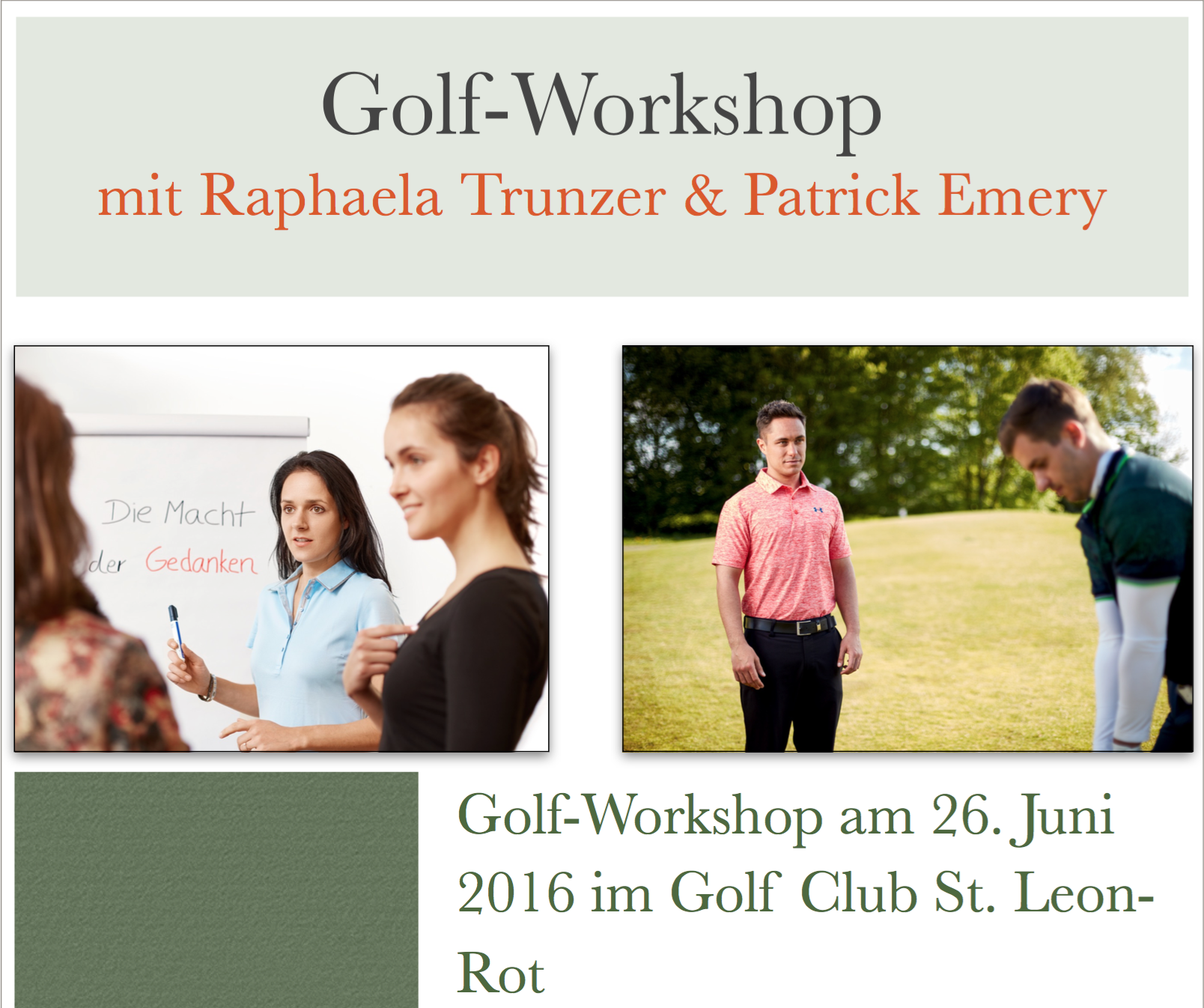 Golf- Workshop mit Raphaela Trunzer und Patrick Emery im Golf Club St. Leon- Rot